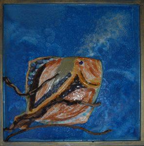 In fondo al mar - 97x97 cm - Pesce di ceramica su fondo di resina